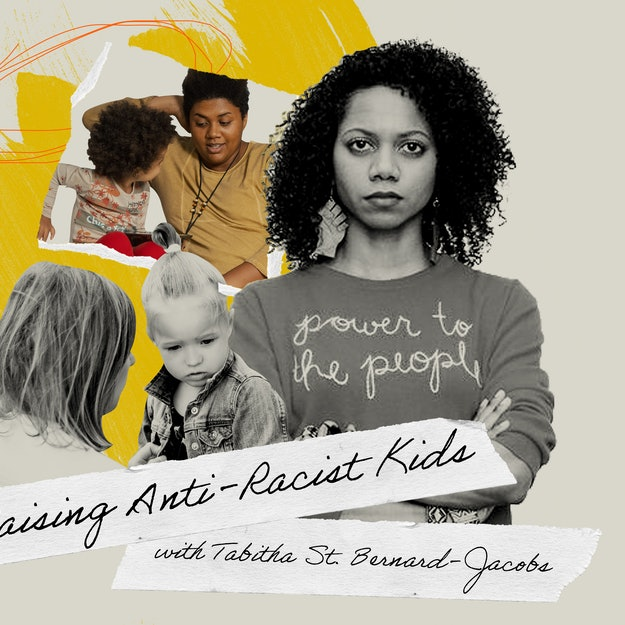 "The author in an illustration with several children and the words ""Raising Anti-Rasict Kids, with Tabitha St. Bernard-Jacobs"""