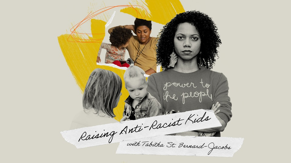 """The author in an illustration with several children and the words """"Raising Anti-Rasict Kids, with Tabitha St. Bernard-Jacobs"""""""