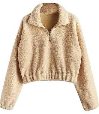 ZAFUL Women's Long Sleeve Half Zip Crop Pullover