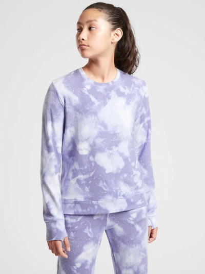 Athleta Girl Cozy Printed Crewneck Sweatshirt