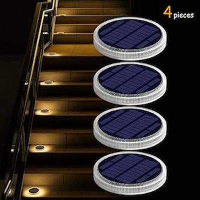 YiLaie Solar Deck Lights Outdoor Waterproof, Garden Driveway Walkway Pathway