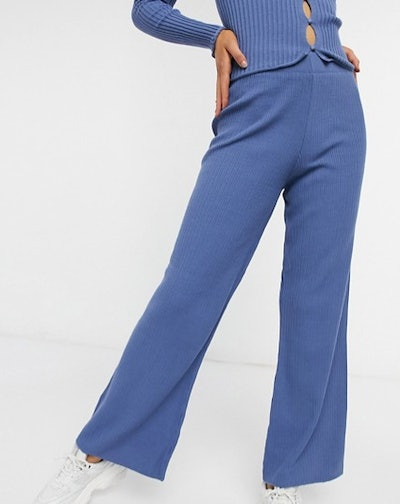 ASOS DESIGN cardi and wide leg trousers co-ord in blue
