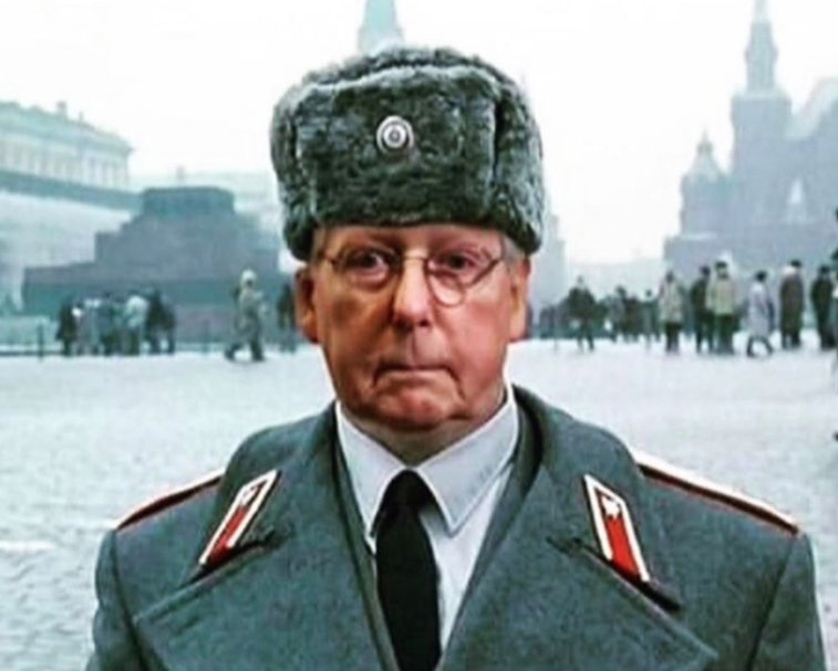 A doctored image of Mitch McConnell as a Soviet soldier in military garb.