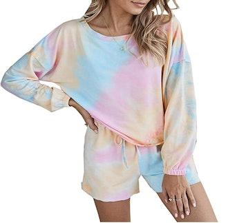 PRETTYGARDEN Women's Tie Dye Tops With Shorts Lounge Set