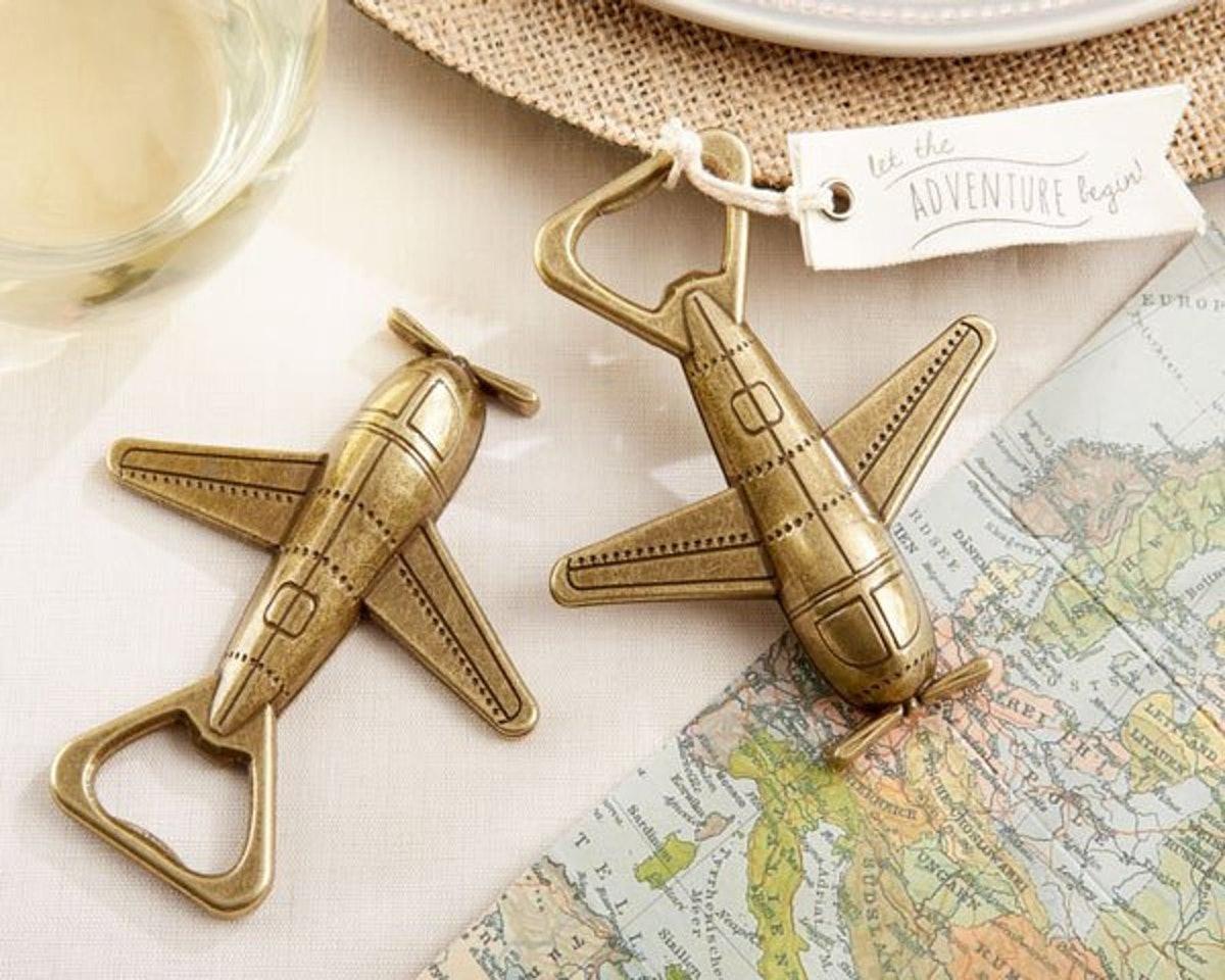 12 PIECES Airplane Bottle Opener Favor