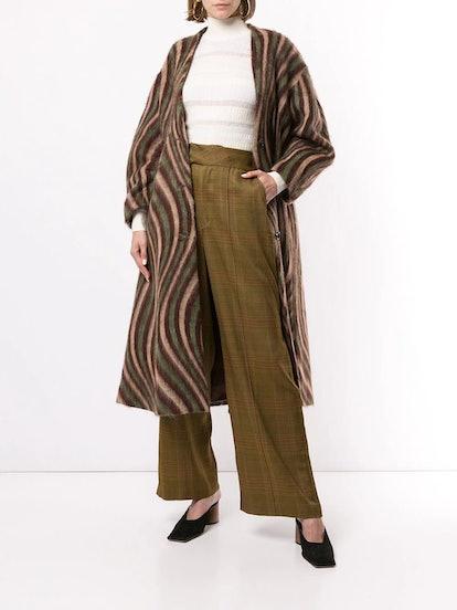 Swirl-print mid-length coat