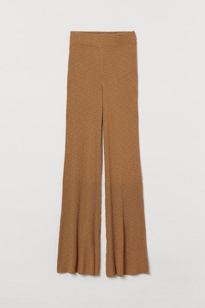 Rib-knit trousers
