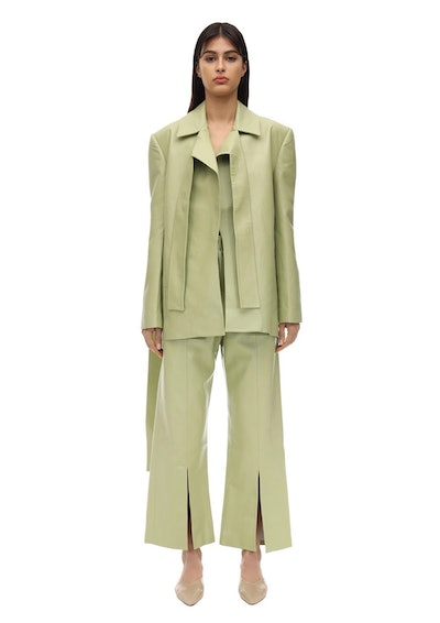 Tied Shoulder Faux Leathe rBlazer