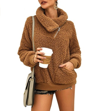 KIRUNDO Women's Sweatshirt Faux Shearling Pullover Zip Up with Pockets