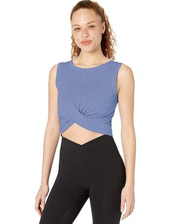 Core 10 Women's Pima Cotton Blend Knot Front Cropped Yoga Tank