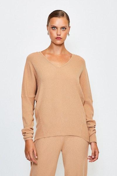 Camel Knit Soft Yarn V Neck Jumper