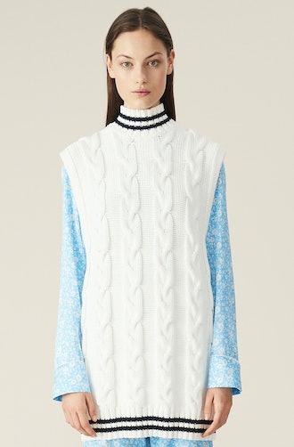Cotton Cable Knit Oversized Vest