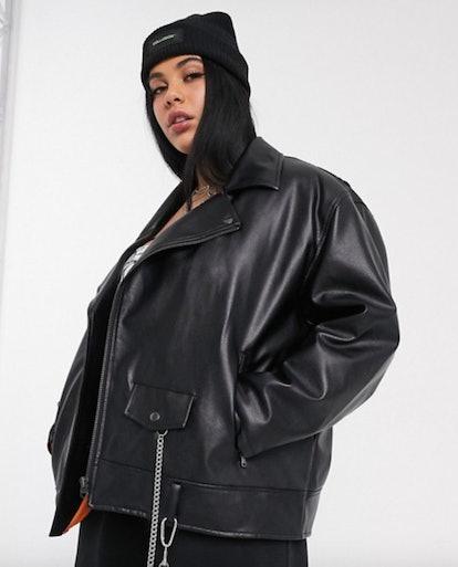 COLLUSION Plus Oversized Pu Biker Jacket in Black