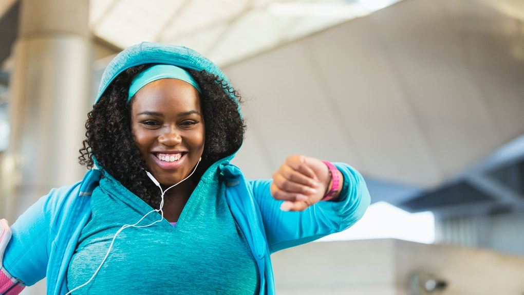 Young black woman exercising