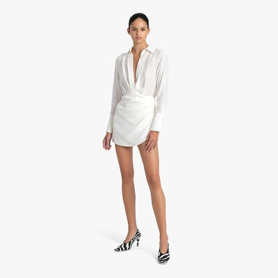 NAHA short draped shirt silk dress