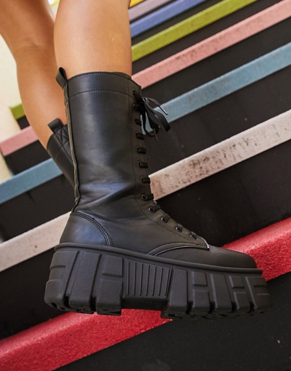 Athens 2 chunky high lace up boots in black