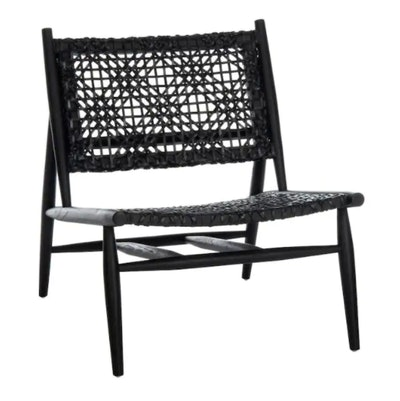 Bandelier Coastal Black Leather Accent Chair