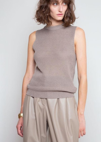 Sleeveless Knit Top In Ash