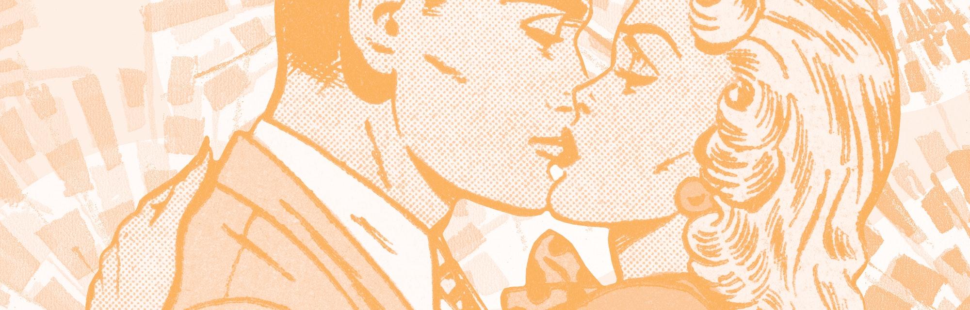 A couple kissing.