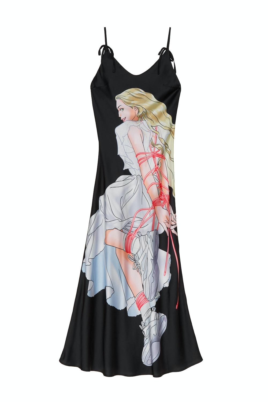 SSENSE Exclusive Black Print Slip Dress