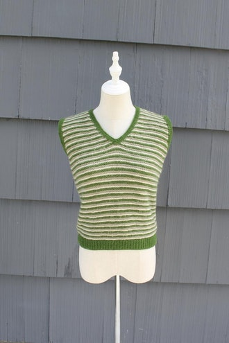 Green and Tan Striped Knit Sweater Vest