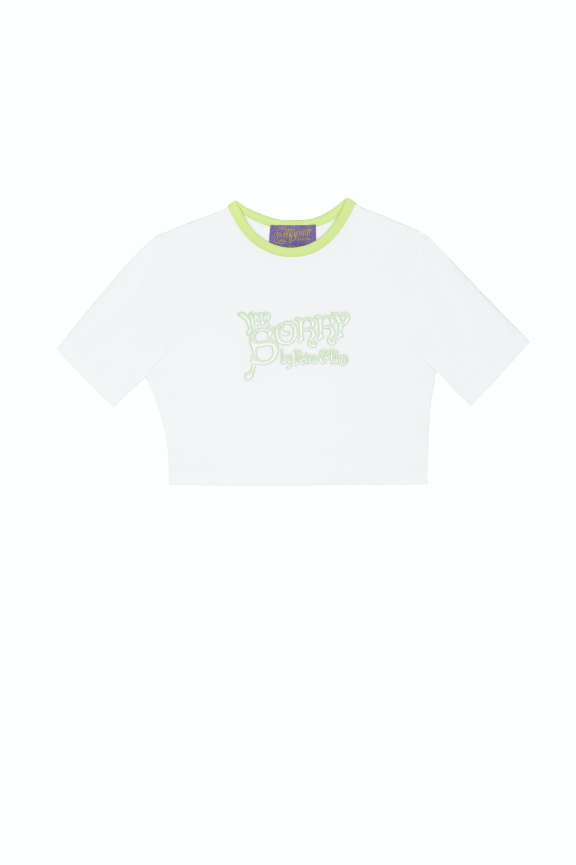 SSENSE Exclusive White & Green Logo Cropped T-Shirt