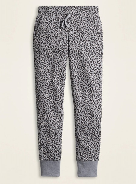 Printed French Terry Street Joggers for Girls in Gray Leopard