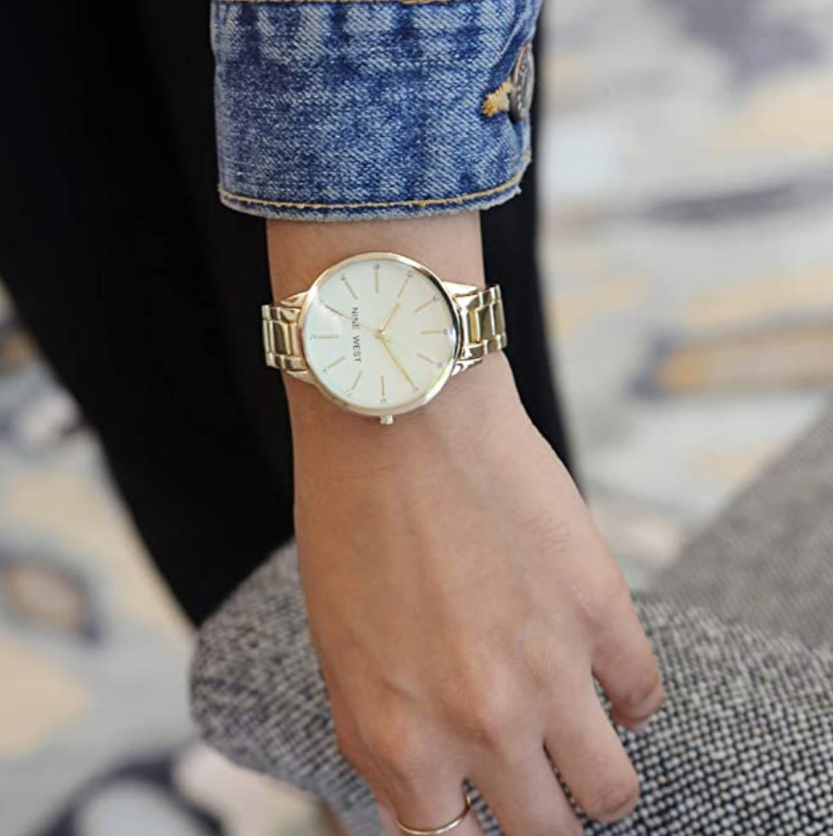 Nine West Crystal Accented Gold-Tone Watch