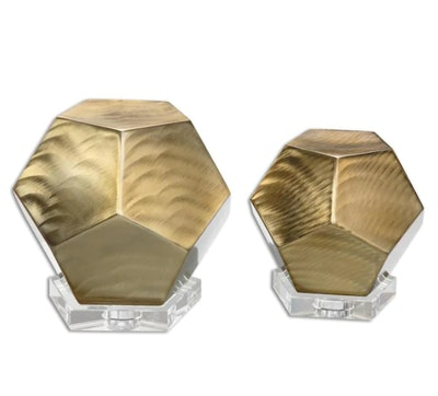 Bronze Pentagon Cubes (Set of 2)