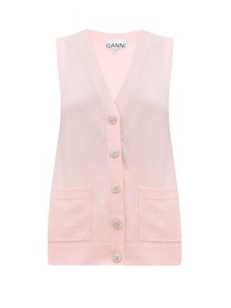 Crystal-Button Sleeveless Cashmere Cardigan