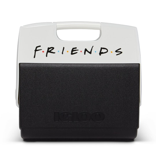 """A black cooler with white top, emblazoned with the logo for """"Friends."""""""