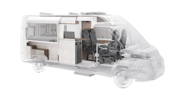 A Vöhringer camper van's interior can be seen. It is small, compact, and easily removable unit by unit.