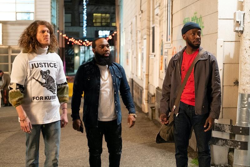 Blake Anderson as Gunther, T. Murph (as Clovis), and Lamorne Morris (as Keef) in 'Woke' via Hulu's p...