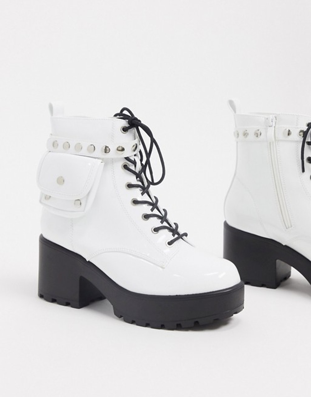 Vegan lace up pocket boot in white