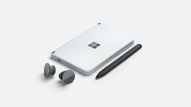 Surface Duo with Surface Slim Pen and Surface Earbuds