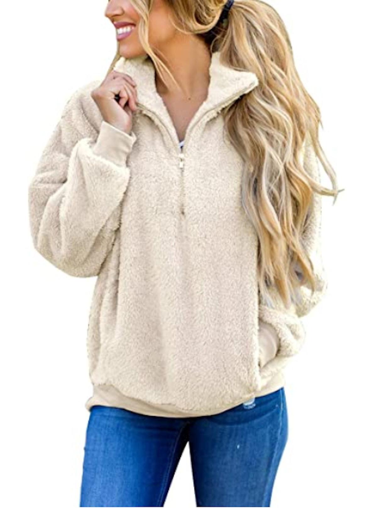 MEROKEETY Sherpa Pullover
