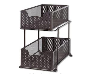 SimpleHouseware 2 Tier Sliding Cabinet Basket Organizer