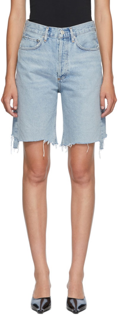 Blue Denim 90s Mid-Rise Loose Shorts