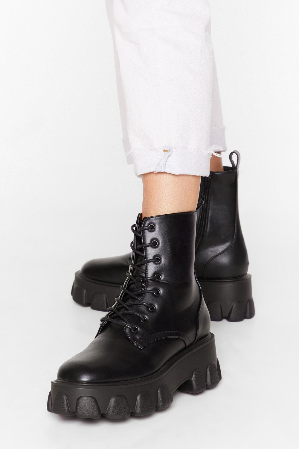 Things Just Got Cleated Platform Faux Leather Boots