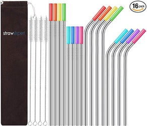 StrawExpert Reusable Stainless Steel Straws (Set of 16)