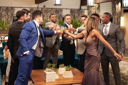 Zac Clark and the other contestants toast on 'The Bachelorette,' via ABC press site.