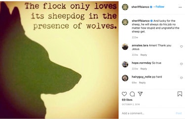 """A screenshot of a meme from Sheriff Bianco that says """"The flock only love its sheepdog in the presen..."""