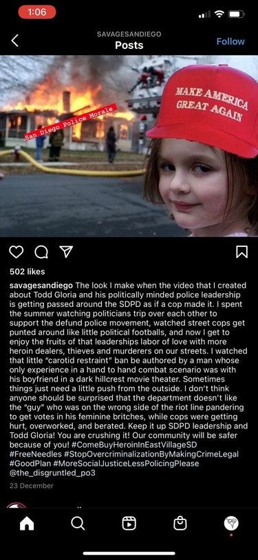 """A screenshot of a post from """"Savage San Diego"""" that includes a girl burning a building in a """"Make Am..."""