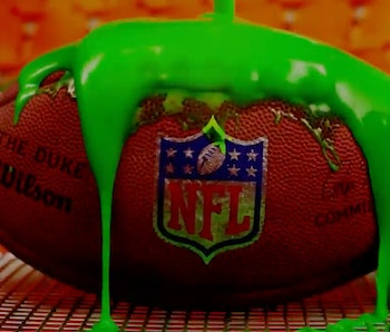 NFL football covered in slime.