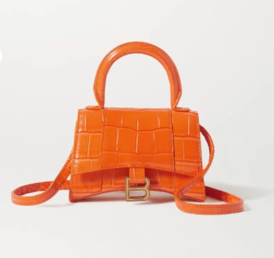 Hourglass nano croc-effect leather tote