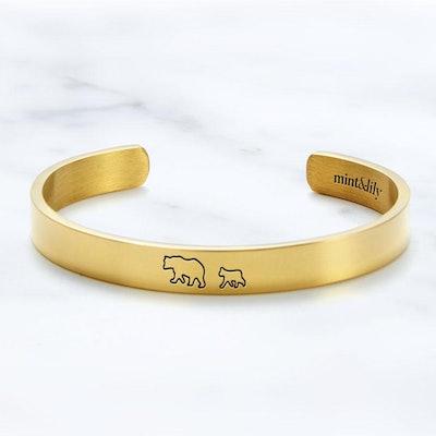 Mama Bear & Her Baby Bears Engraved Cuff Bracelet