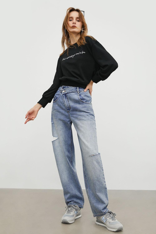 Slouchy Blue Asymmetrical Jeans