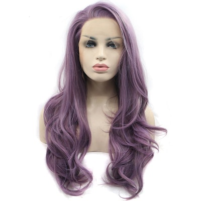 Long Wavy Synthetic Lace Front Wig in Purple Wavy