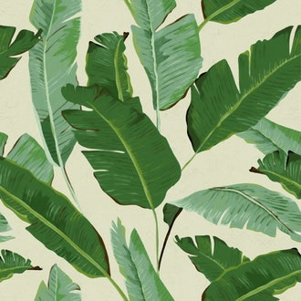 Banana Leaves Wallpaper in Beige and Green from the Tropical Vibes Collection