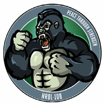 """Official government patch shows gorilla beating its chest with """"Peace though Strength"""" motto"""